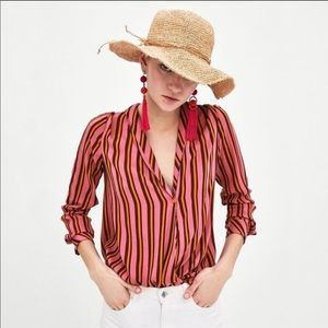 Zara TRF Striped High Low Crossover Blouse